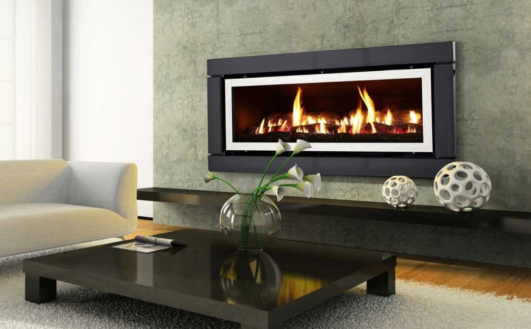 Modern gas fireplace in contemporary living room