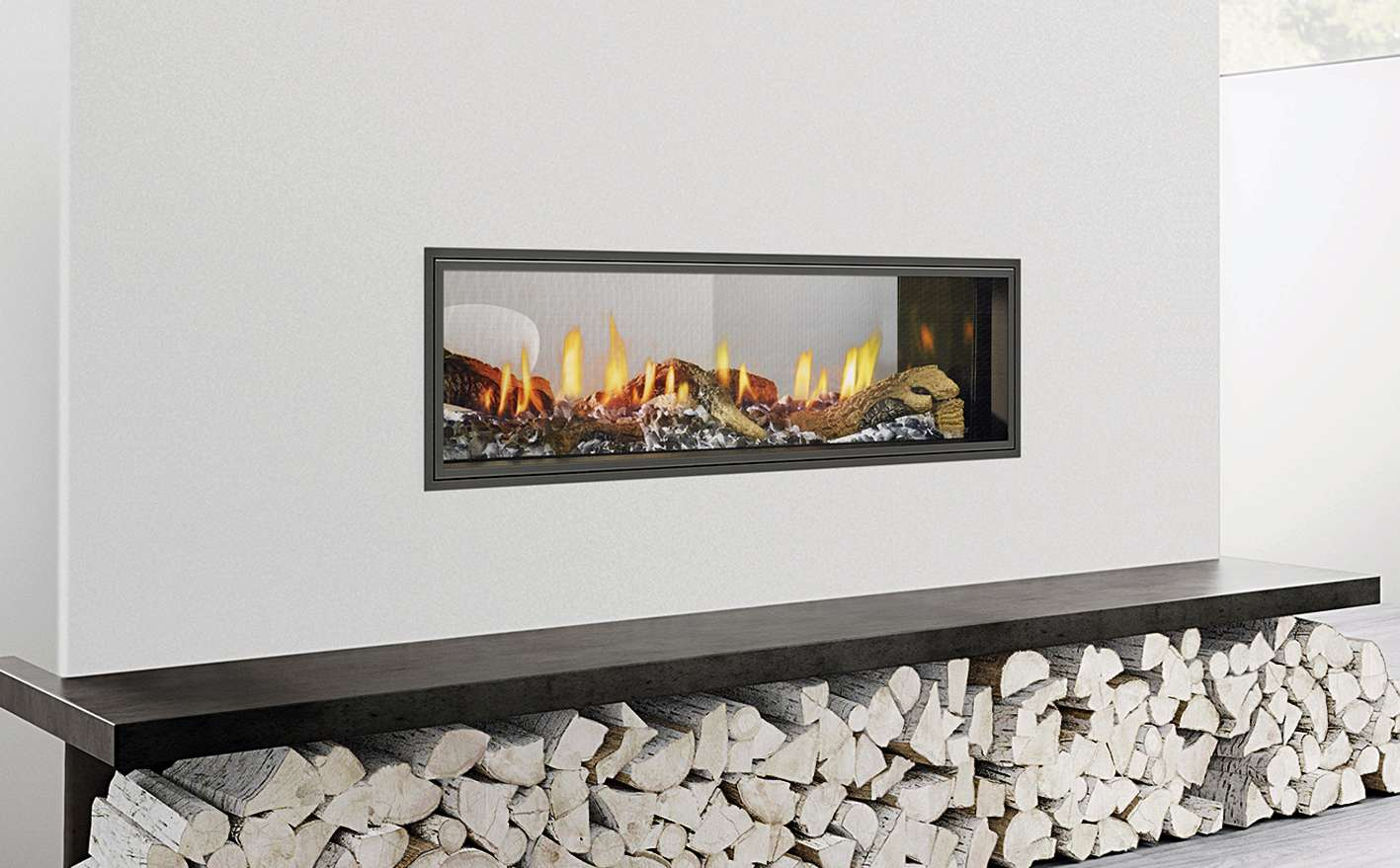 Simplistic gas fire with wooden logs