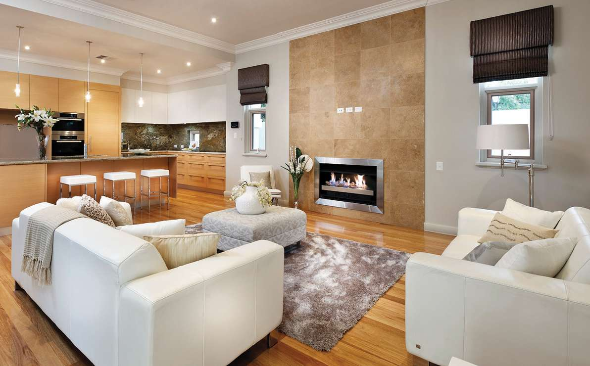 Gas fire in golden living room