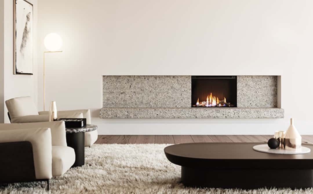 White contemporary modern room with stone surround gas fire