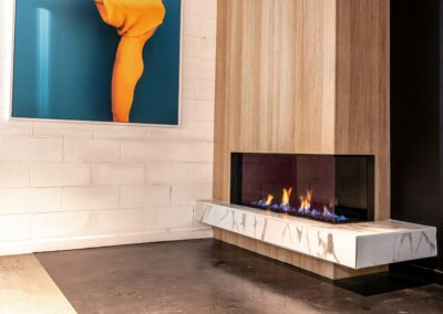 Modern Gas Log Fireplace at Installation Showroom in Alphington