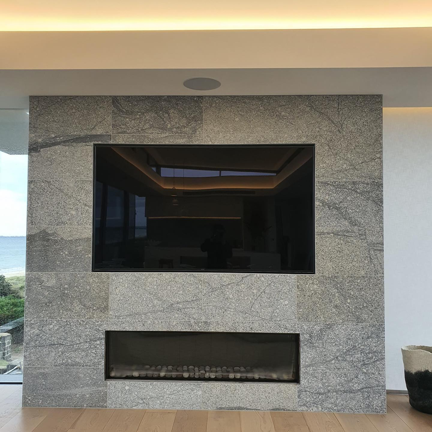 Luxury Gas Fireplace Design - With Beach View