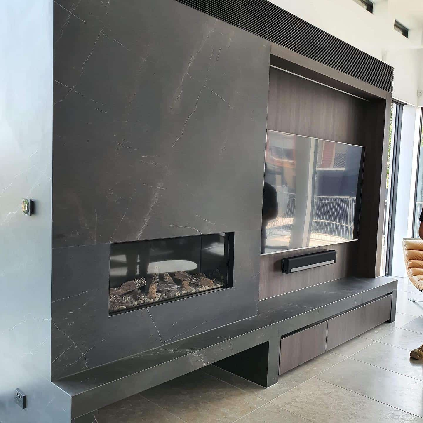 Gas Fireplace Next to TV Unit - Luxury Living Room Design