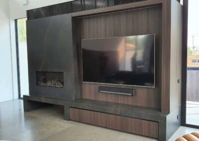 Gas Log Fireplace with Entertainment Systems- Just Gas Log Fires Installation