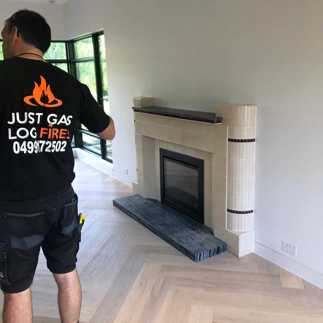 Just Gas Log Fire gas fitter onsite.